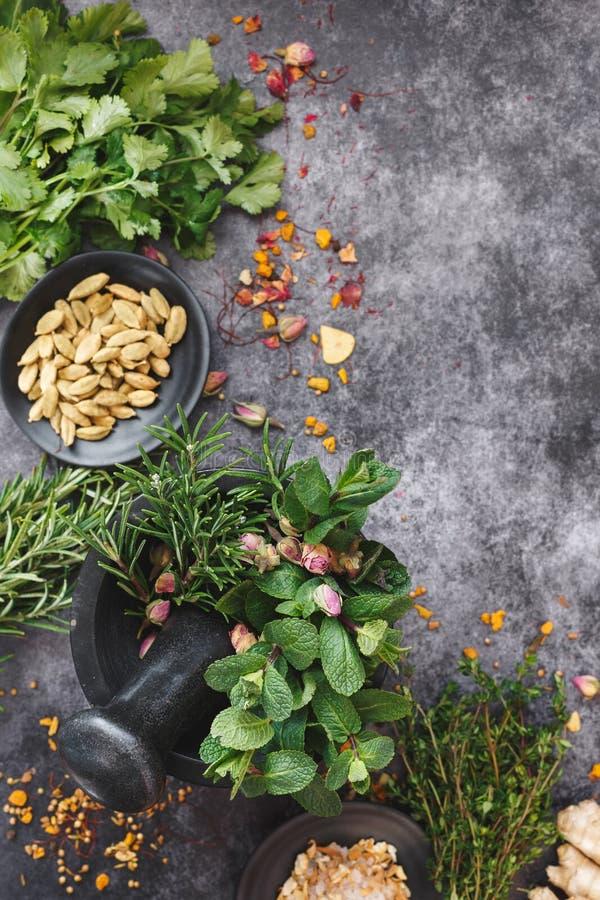 Hierbas culinarias recientemente escogidas en un mortero foto de archivo libre de regalías