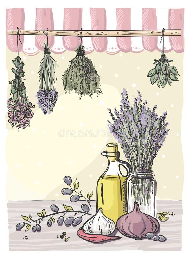 Hierbas de los atascamientos y aceite de oliva. ilustración del vector