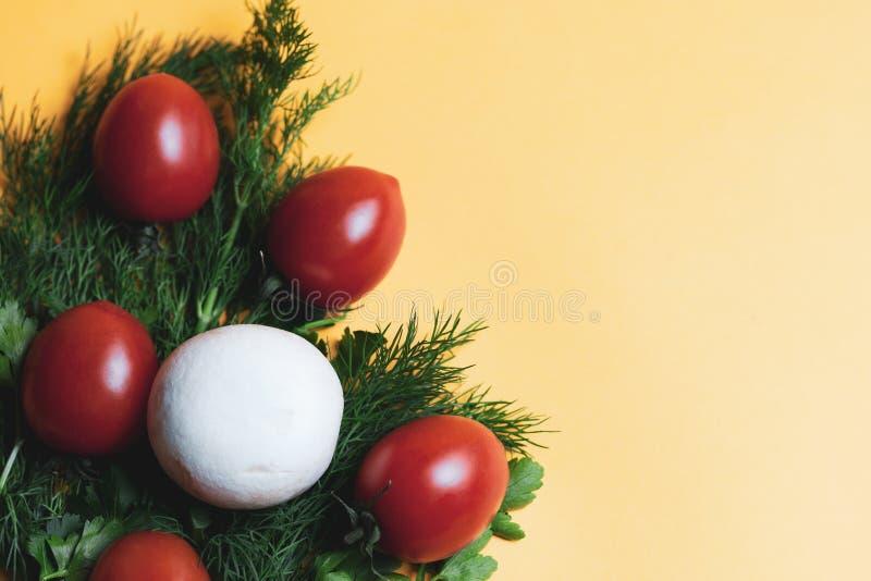 Hierbas frescas eneldo, perejil, seta, tomate en el fondo de papel amarillo Visión superior Copie el espacio fotografía de archivo libre de regalías