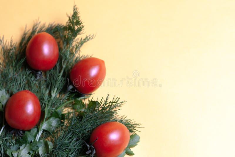 Hierbas frescas eneldo, perejil, tomate en el fondo de papel amarillo Visión superior Copie el espacio foto de archivo