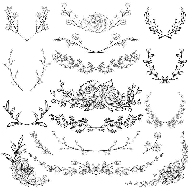 Hierbas, plantas y flores dibujadas negro Ilustración del vector stock de ilustración