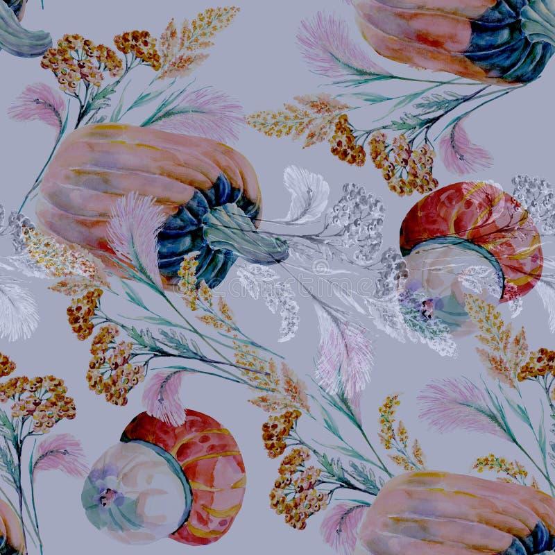 Hierbas salvajes de la acuarela con la calabaza en un fondo azul libre illustration