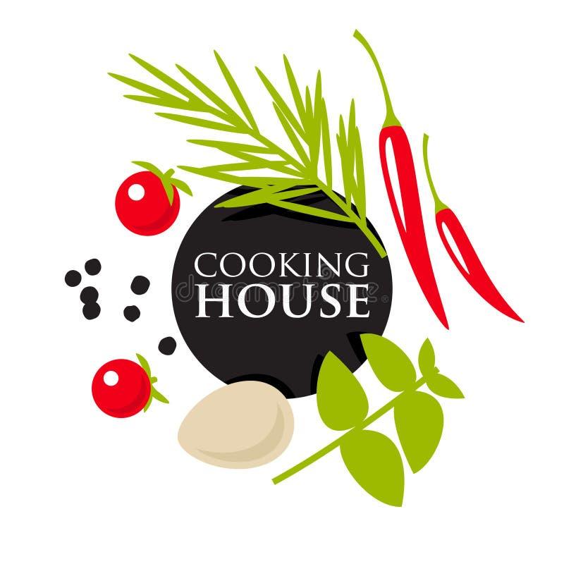 Hierbas, verduras y especias stock de ilustración