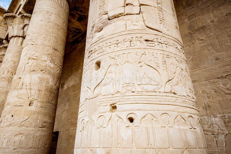 Hieroglify Horus przy świątynią Edfu Egipt obraz stock