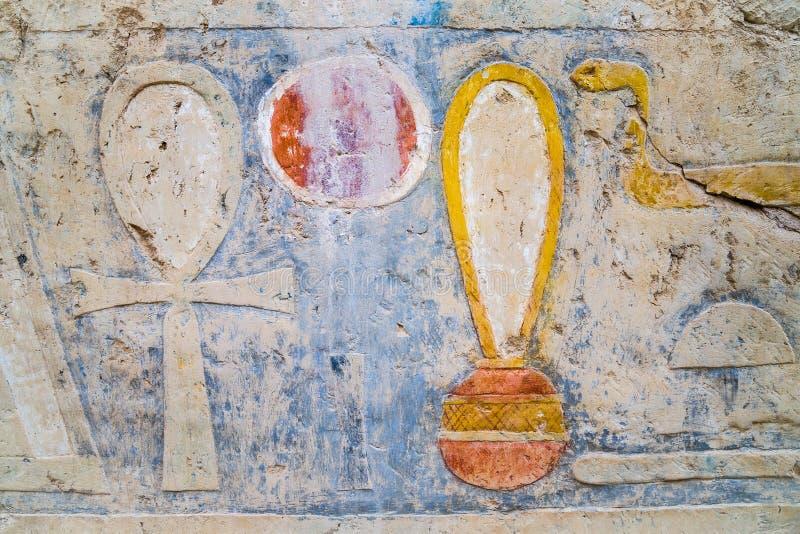 Hieroglify w świątyni Hatshepsut zdjęcia royalty free