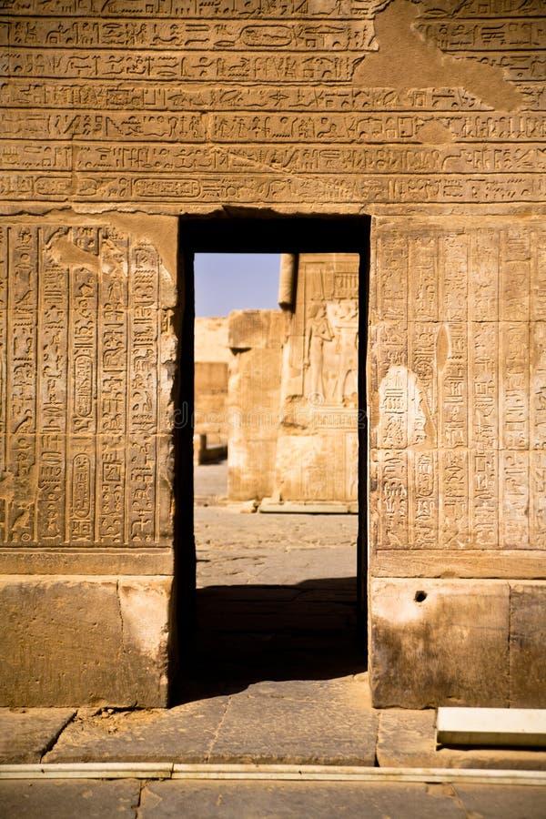 Hieroglify w Kom Ombo świątyni obrazy royalty free