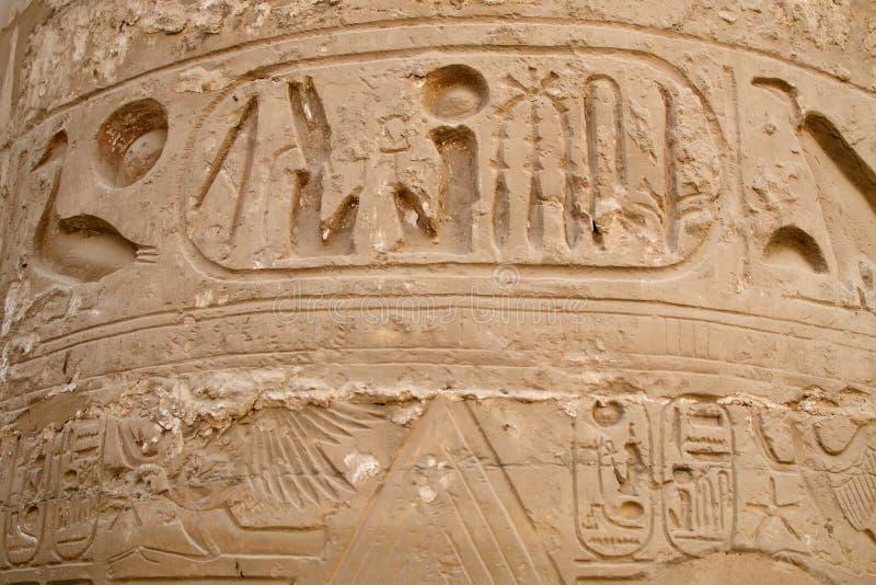 Hieroglyf i polisdistriktet av Amun-beträffande (det Karnak tempelkomplexet, Luxor, Egypten) arkivfoto
