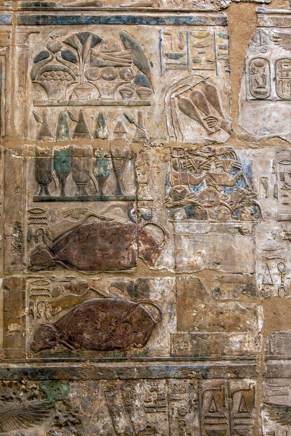 Hieroglyf och lättnadsgravyrer royaltyfri fotografi