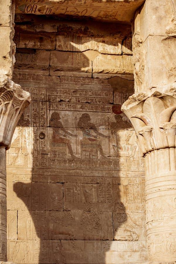 Hieroglyf på templet av Edfu och Horus, Egypten Idfu, Edfou, Behdet royaltyfria foton