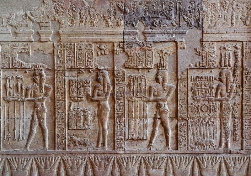 Hieroglyfiska carvings i forntida egyptisk tempel royaltyfria bilder