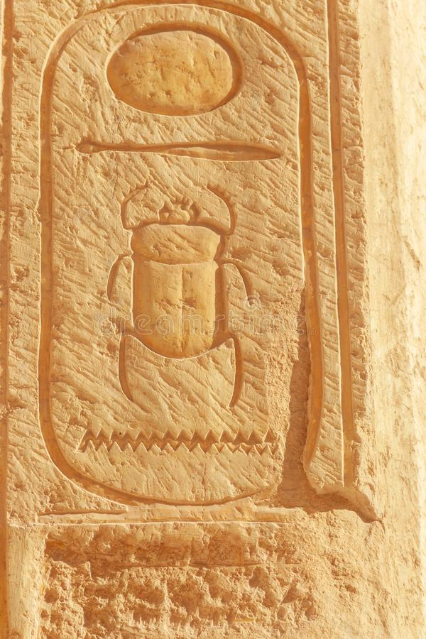 Hieroglyph Scarab χάραξη σε έναν τοίχο στο ναό της βασίλισσας Hatshepsut σε Luxor, Αίγυπτος στοκ φωτογραφία με δικαίωμα ελεύθερης χρήσης
