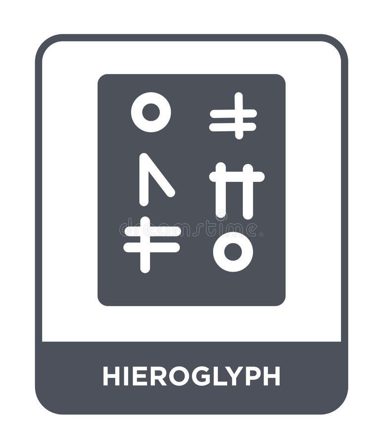 Hieroglyphenikone in der modischen Entwurfsart Hieroglyphenikone lokalisiert auf weißem Hintergrund Hieroglyphenvektorikone einfa stock abbildung