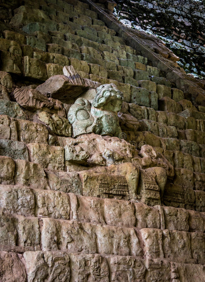 Hieroglyphic Stairway at Mayan Ruins - Copan Archaeological Site, Honduras stock photos