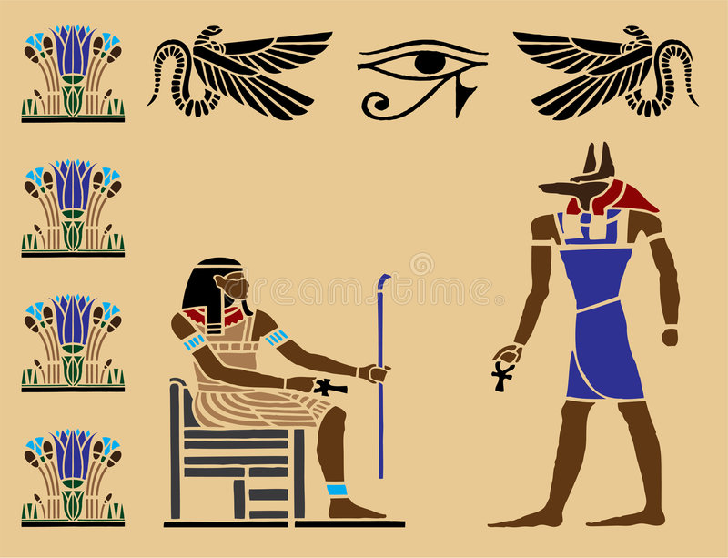 Hieroglyphics egípcios - 6 ilustração stock