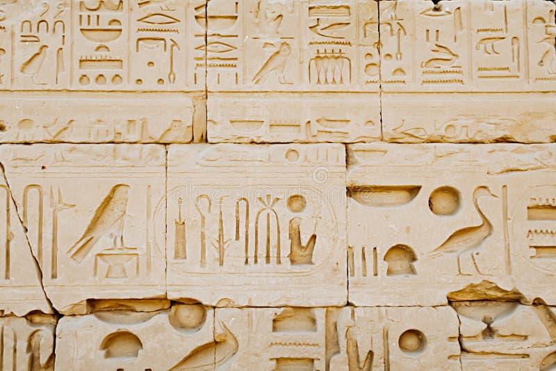 Hieroglyphs του ναού Karnak Αίγυπτος στοκ εικόνα με δικαίωμα ελεύθερης χρήσης