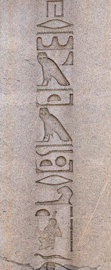Hieroglyphs on the ancient egyptian obelisk, Istanbul, Turkey royalty free stock image