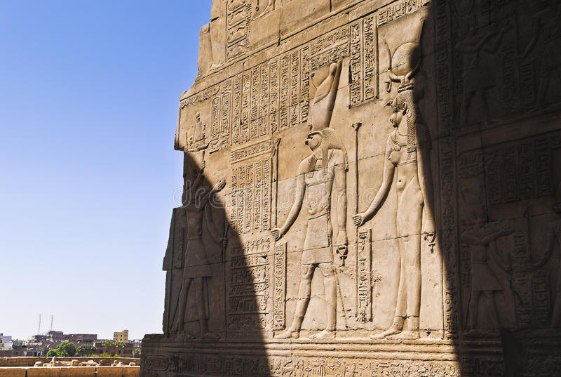 Hieroglyphs in Egyptian temple stock image