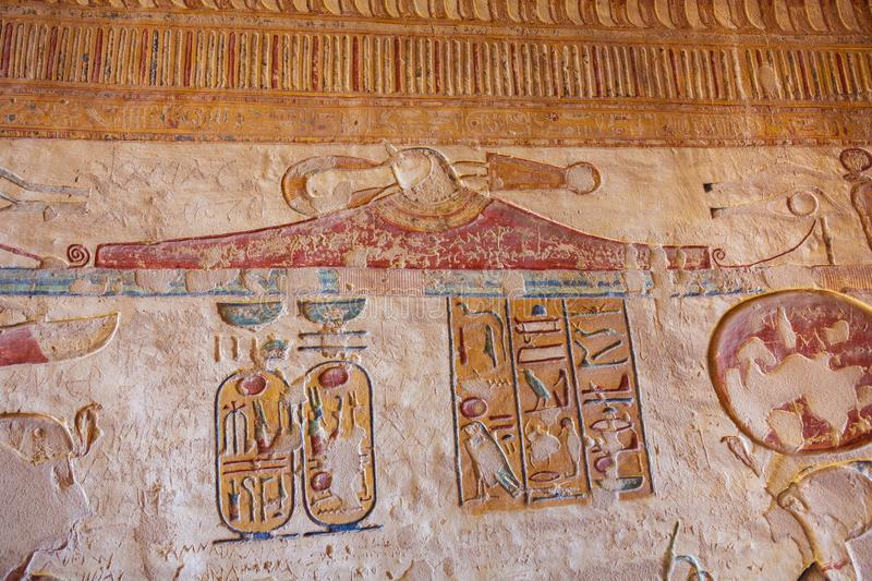 Hieroglyphs in the tomb of Ramesses VII. In the Valley of the Kings royalty free stock image