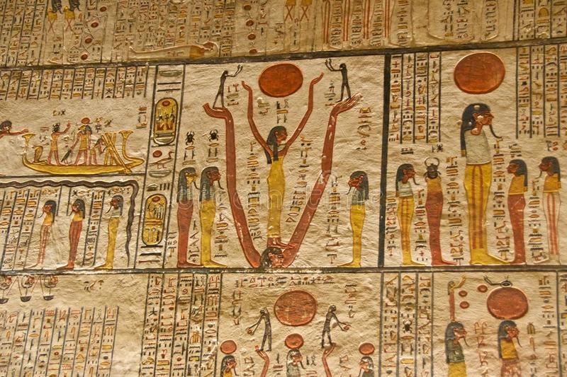 Hieroglyphs on the wall in King Tut`s Tomb in the Valley of Kings in Luxor, Egypt royalty free stock photography