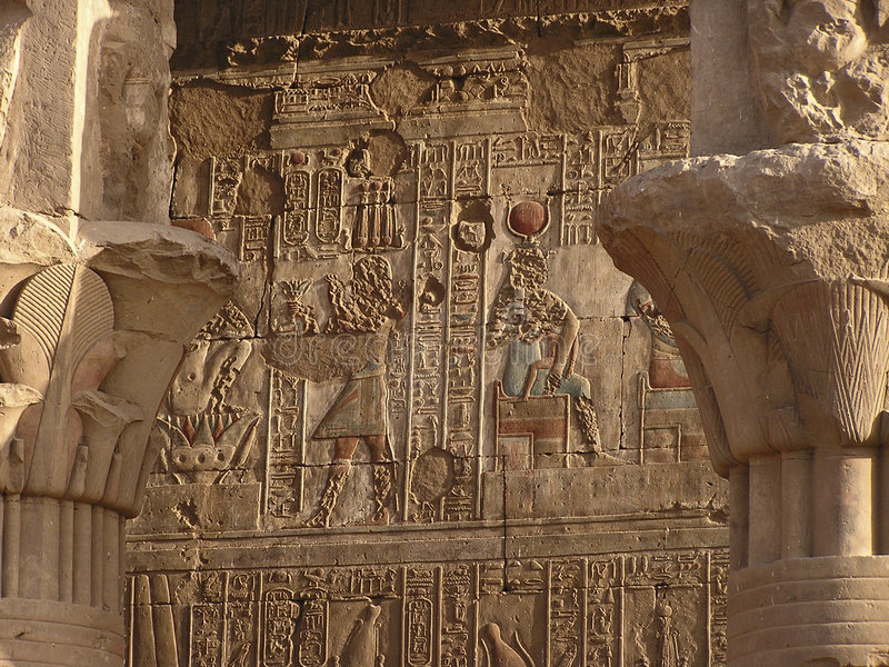 Download Hieroglyps on Edfu temple stock image. Image of dynasty - 161301