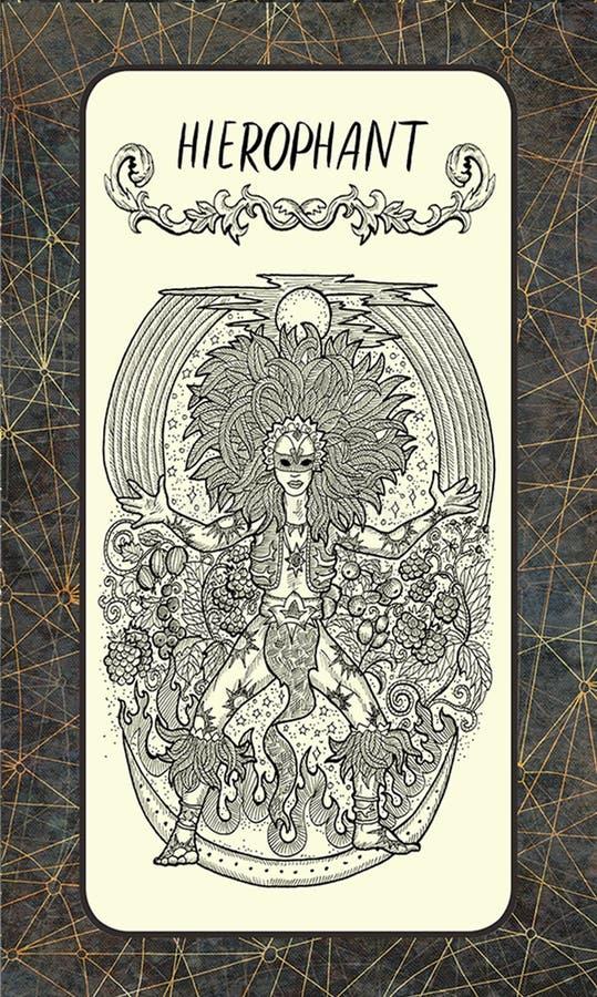 Hierophant De Magische kaart van het Poorttarot royalty-vrije illustratie