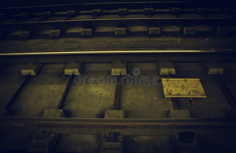 Hierro de los carriles de la tranvía fotos de archivo