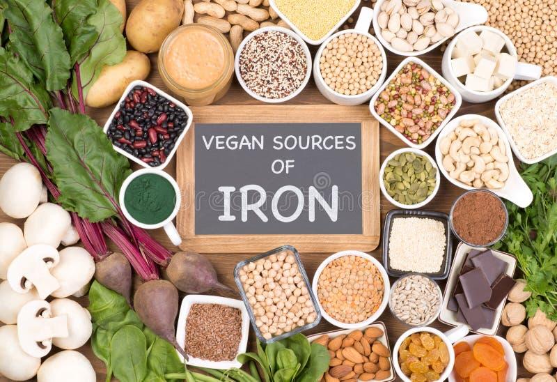 Hierro en dieta del vegano Fuentes de la comida de hierro del vegano foto de archivo libre de regalías