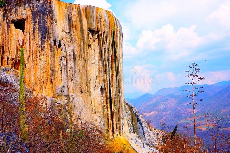 Hierve el阿瓜,石化瀑布在瓦哈卡v 免版税库存照片