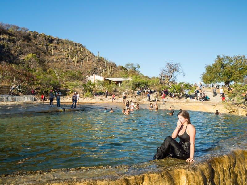 Hierve el agua, Oaxaca, Meksyk, Ameryka Południowa: [naturalna cud formacja w Oaxaca regionie, gorącej wiosny siklawa wewnątrz fotografia royalty free