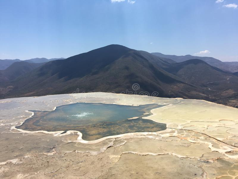 Hierve el Agua Oaxaca Mexico. The beautiful petrified waterfalls of Hierve el Agua in the state if Oaxaca in Mexico with Mountains surrounding thermal water stock photos