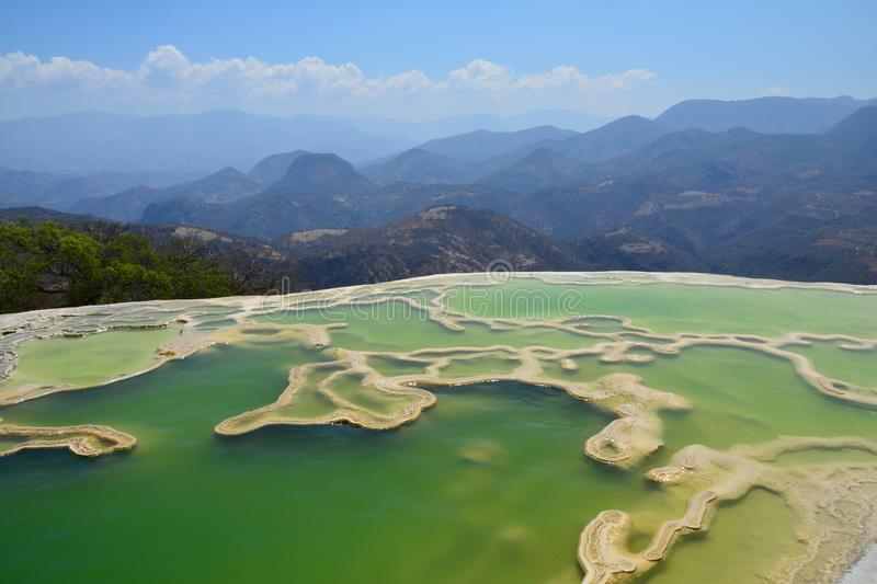 Hierve el Agua Oaxaca Mexico. Petrified waterfalls of the natural wonder of Hierve el Agua in Oaxaca Mexico with overview on the surrounding mountains stock photo