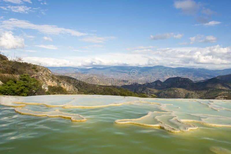 Hierve el Agua. Is set of natural rock formations in the Mexican state of Oaxaca that resemble cascades of water stock image