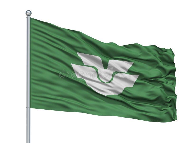 Higashi Hiroshima City Flag On Flagpole, Japan, Hiroshima Prefecture, Isolated On White Background. Higashi Hiroshima City Flag On Flagpole, Country Japan vector illustration