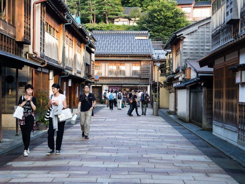 Higashichaya oud geishadistrict in Kanazawa stock fotografie