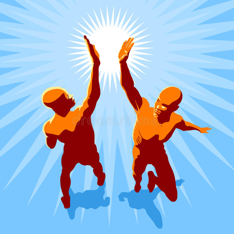 High 5. Concept illustration - two people in high spirit giving hi 5 royalty free illustration
