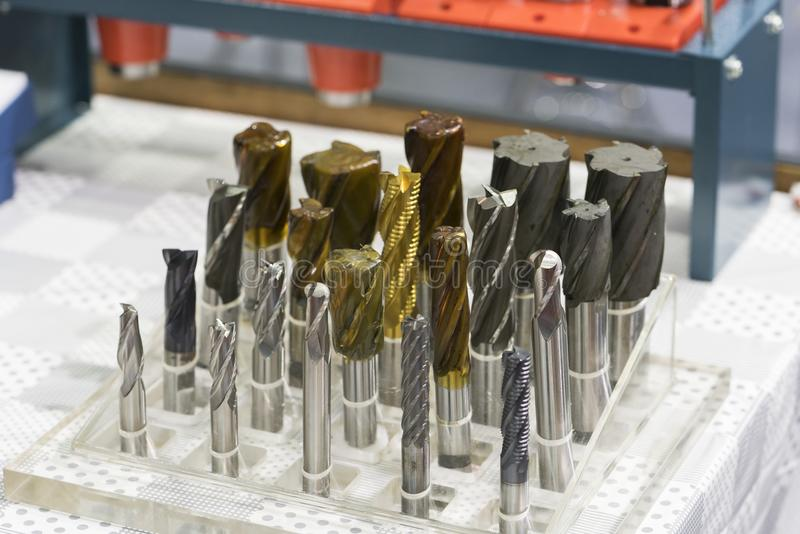 High accuracy carbide endmill for high precision cutting automotive part by CNC machining center stock photography
