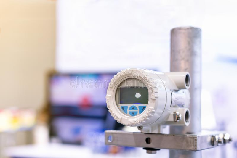 High accuracy and Modern flow transmitter set up on stand for measuring pressure viscosity density compressibility application for royalty free stock photo