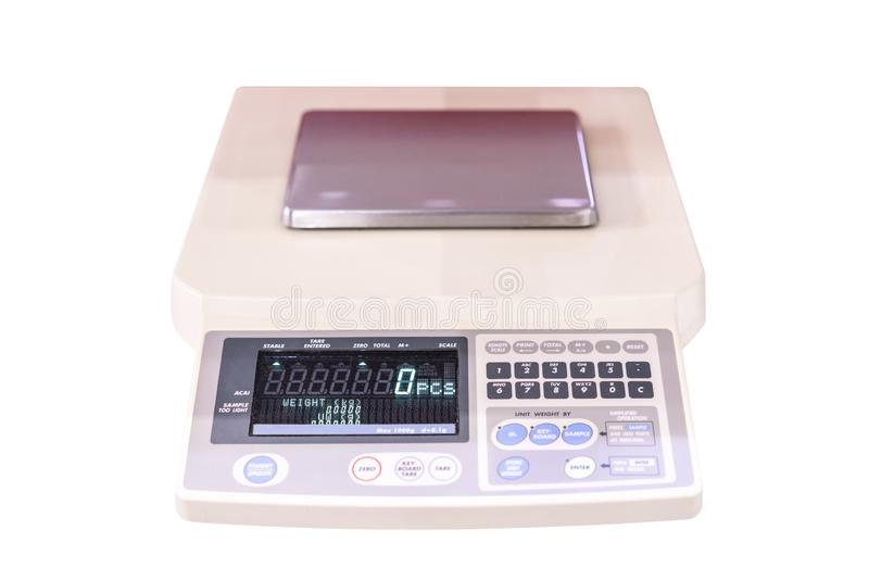 High accuracy & precision digital measuring weight scale or balance device of lab for industrial chemical medicine food & beverage. Cosmetics biochemistry stock image