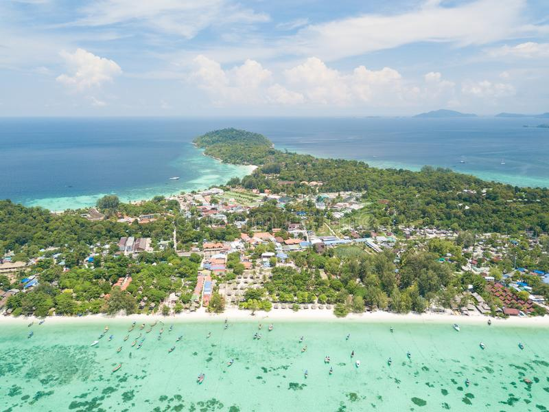 High aerial overview of entire tropical Lipe Island and Andman S. Ea in Satun province, Thailand royalty free stock images