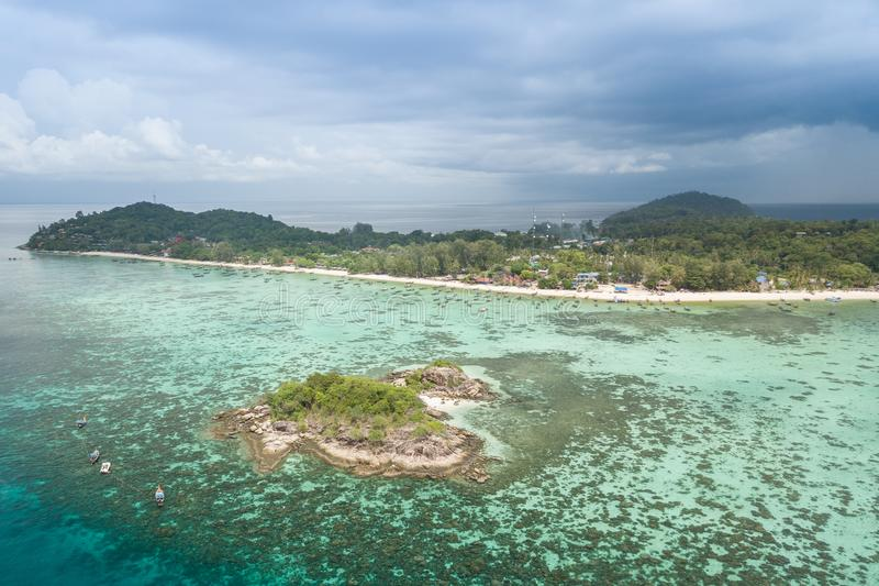 High aerial overview of entire tropical Lipe Island and Andman S. Ea in Satun province, Thailand stock image