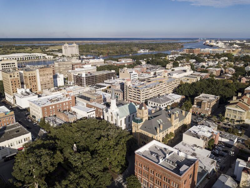 High aerial view of the historic area of downtown Savannah, Georgia, USA royalty free stock photography