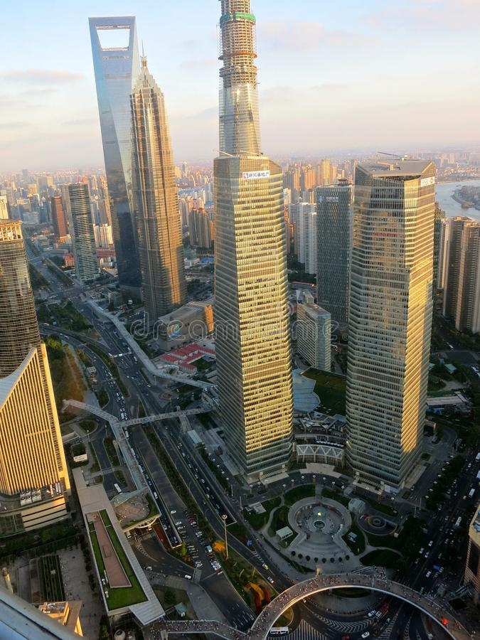 High Air View of Shanghai Skyscrapers stock photo