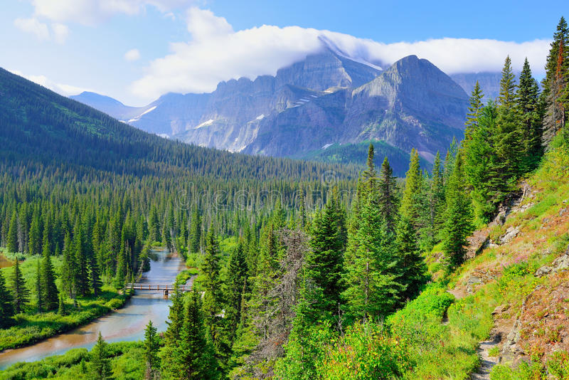 High alpine landscape on the Grinnell Glacier trail in Glacier national park, montana stock photo