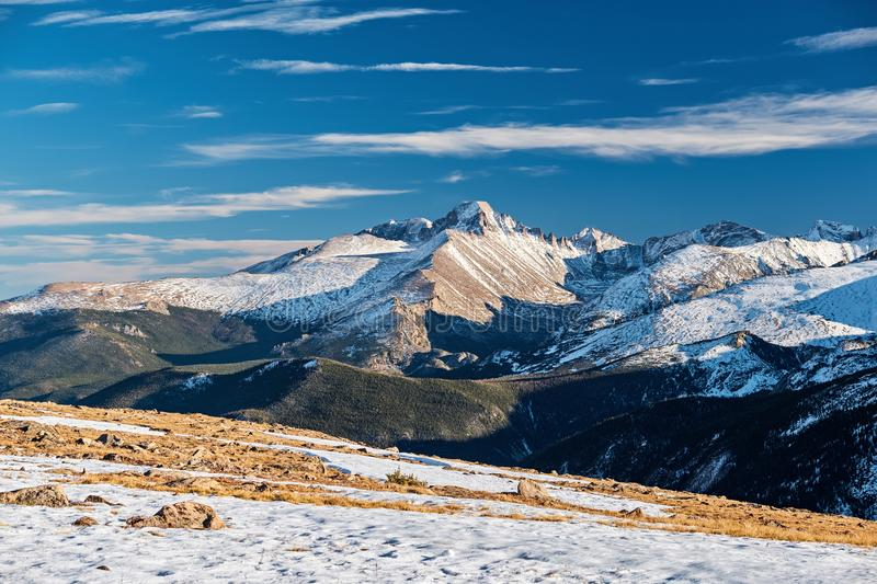 High alpine tundra landscape with mountains stock photography