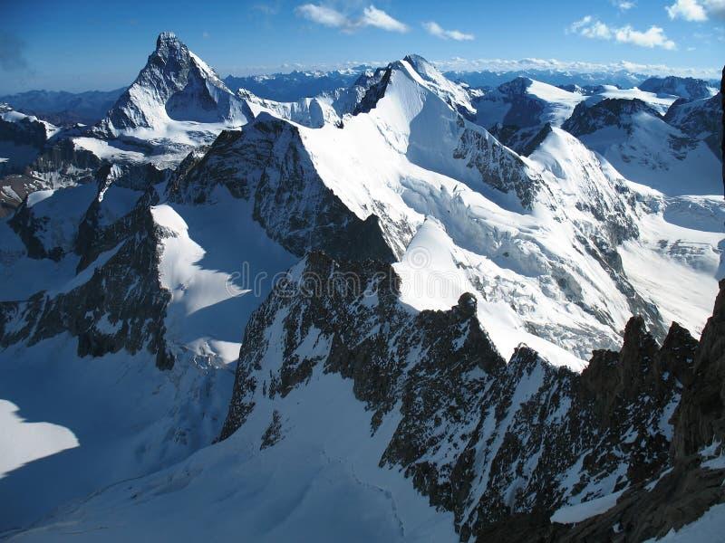 High alps ruled by Matterhorn stock image