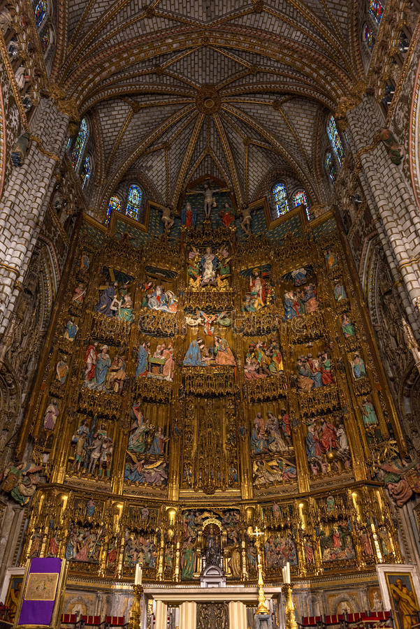 High altar of the gothic Cathedral of Toledo stock photos