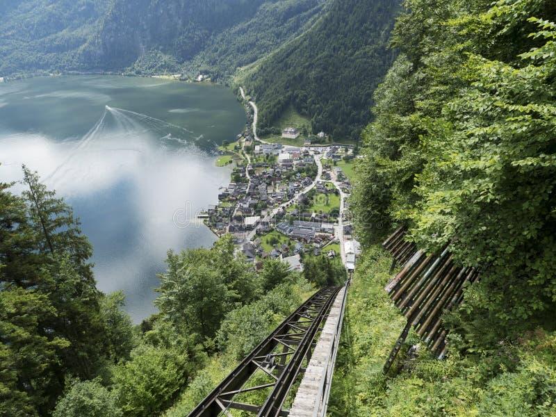 High-altitude cog railway, rail lift in Hallstatt. Mountain lake, Alpine massif, beautiful canyon in Austria. Salzburg Alpine valley in summer, clear water royalty free stock photos