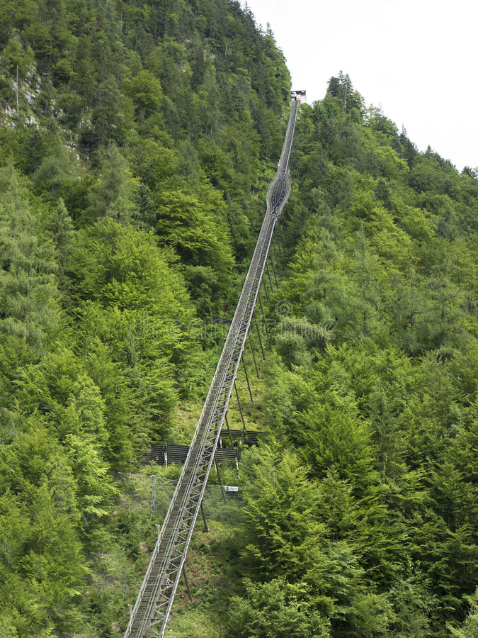 High-altitude cog railway, rail lift in Hallstatt. Mountain lake, Alpine massif, beautiful canyon in Austria. stock photography
