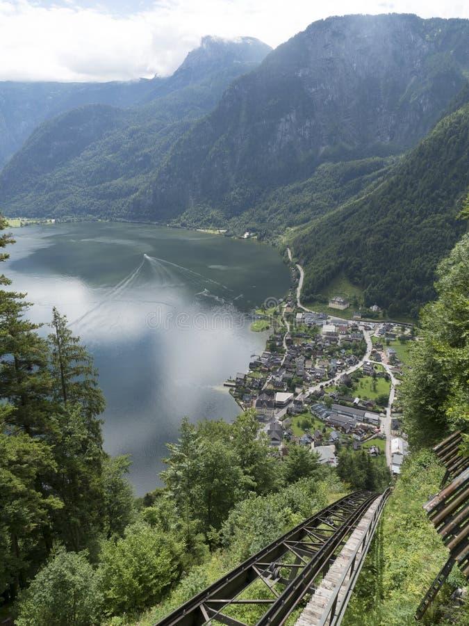 High-altitude cog railway, rail lift in Hallstatt. Mountain lake, Alpine massif, beautiful canyon in Austria. Salzburg Alpine valley in summer, clear water stock photography
