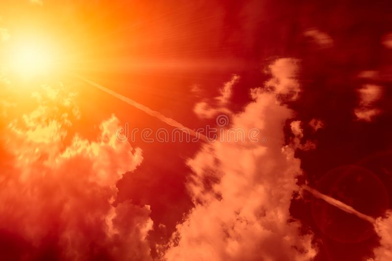 High-altitude nuclear explosion of Missile explosive over the sky. Release heat and air radiation concept stock photo